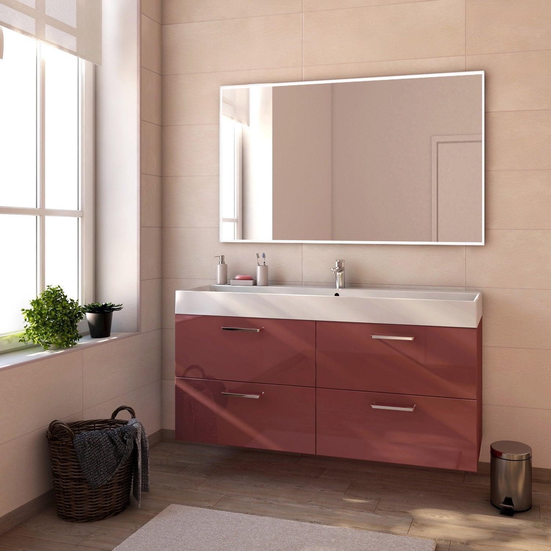 Meuble de salle de bains de 60 79 rouge neo line for Meuble salle de bain rouge leroy merlin