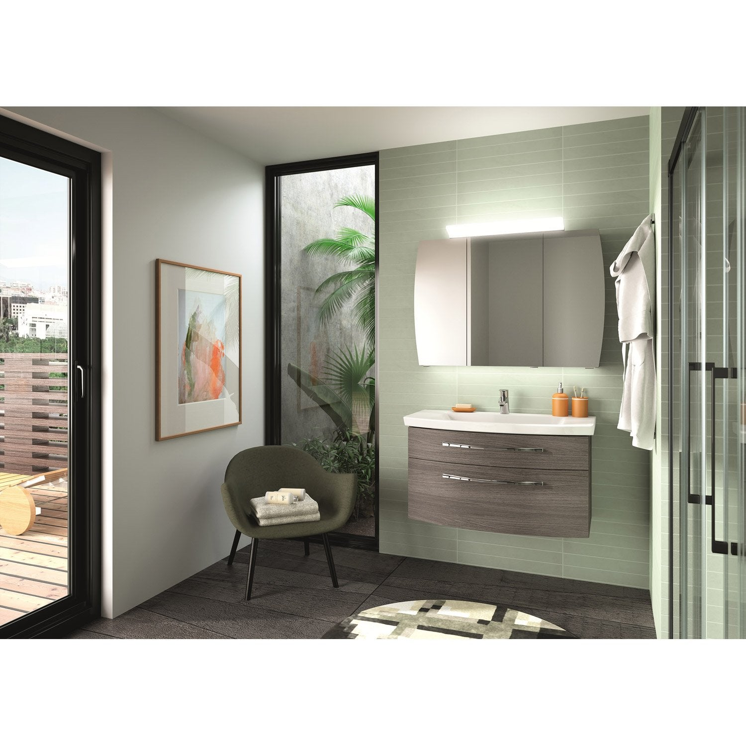meuble de salle de bains de 80 99 gris argent image leroy merlin. Black Bedroom Furniture Sets. Home Design Ideas