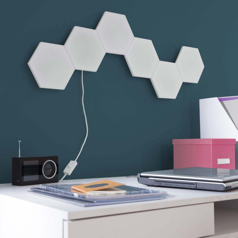 Panneau led puzzle 1 x 2 9 w plastique blanc inspire - Panneaux decoratif leroy merlin ...