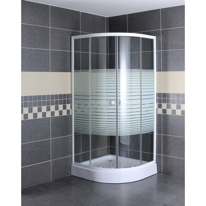 Porte de douche coulissante primo verre s rigraphi blanc leroy merlin - Porte de douche en verre coulissante ...