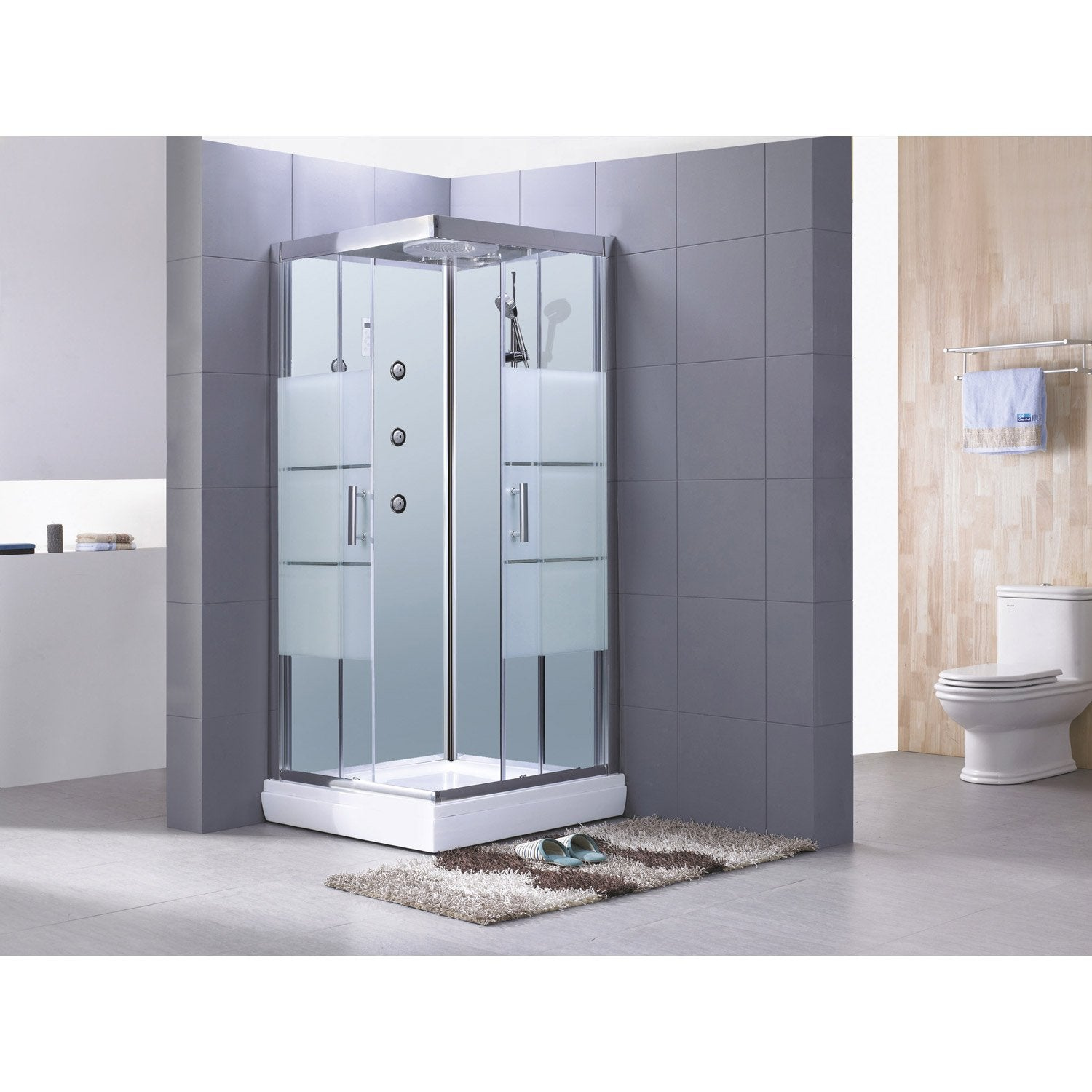 Cabine de douche carr 80x80 cm optima2 blanche leroy for Carrelage 80x80 leroy merlin