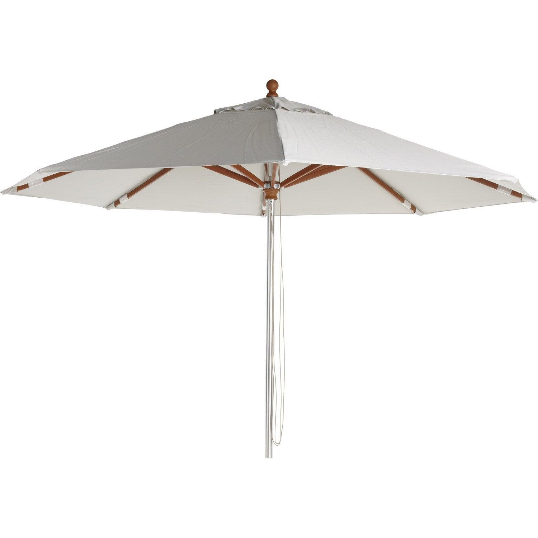 Parasol droit resort naterial gris galet 8 m leroy merlin - Parasol leroy merlin ...