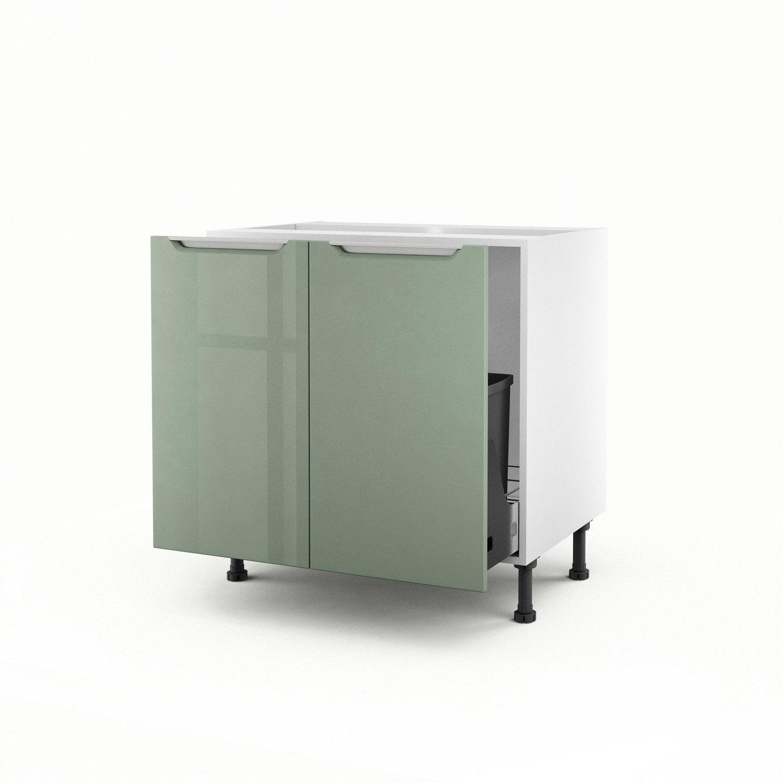 Meuble de cuisine sous vier vert 2 portes milano x l for Meuble salle de bain vert
