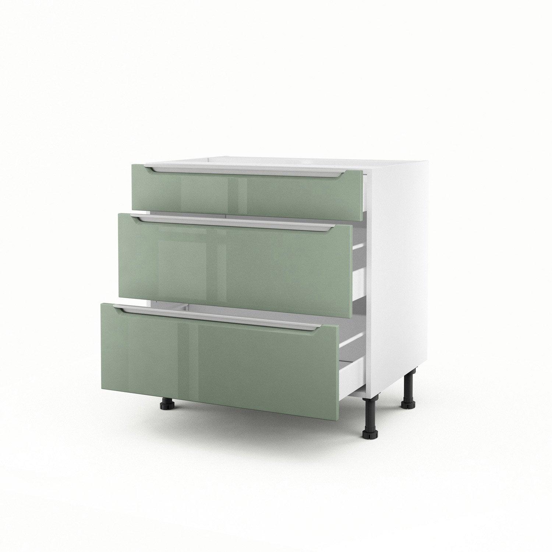 meuble de cuisine bas vert 3 tiroirs milano x x cm leroy merlin. Black Bedroom Furniture Sets. Home Design Ideas