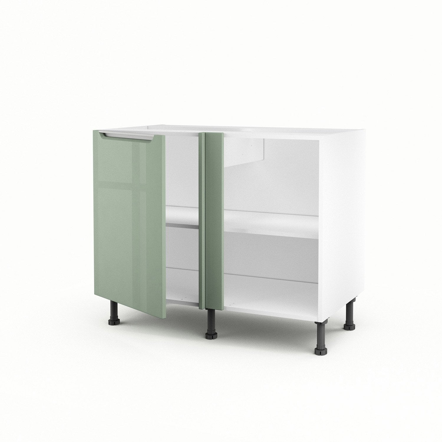 meuble de cuisine bas d 39 angle vert 1 porte milano x x cm leroy merlin. Black Bedroom Furniture Sets. Home Design Ideas