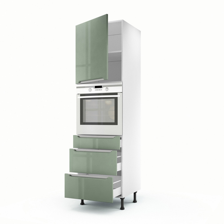 Meuble de cuisine colonne vert 1 porte 3 tiroirs milano for Meuble 1 porte 3 tiroirs