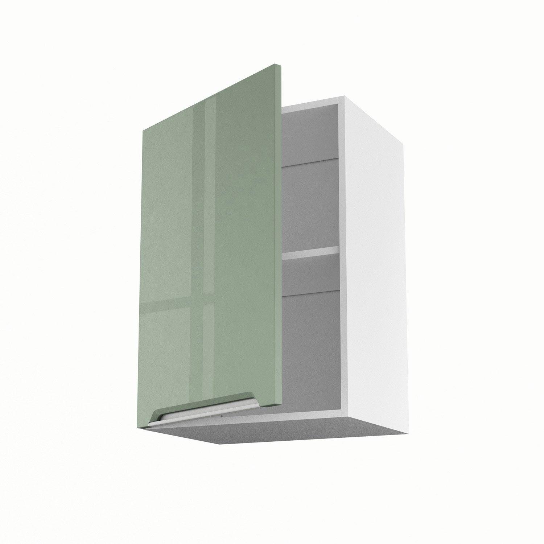 Meuble de cuisine haut vert 1 porte milano x x p for Porte 70 cm leroy merlin