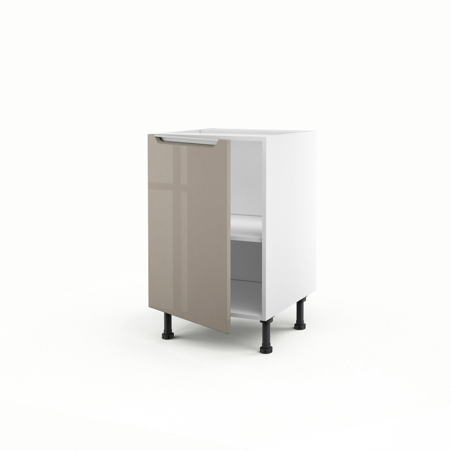Meuble de cuisine bas taupe porte milano h x l x with for Meuble cuisine leroy merlin