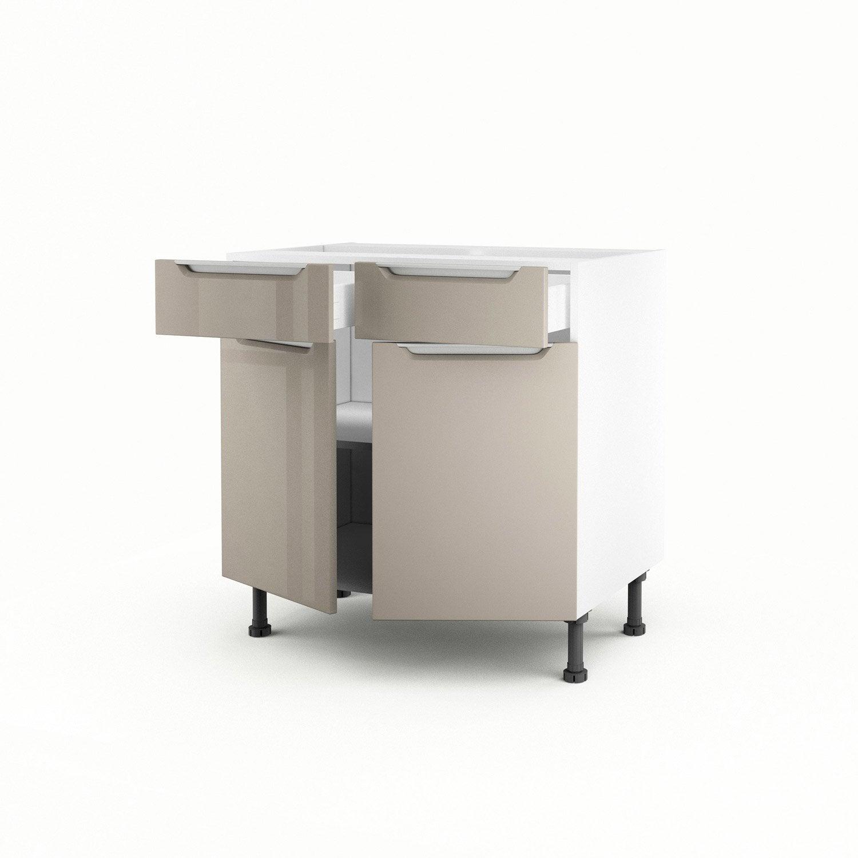 Meuble De Cuisine Bas Taupe 2 Portes 2 Tiroirs Milano X X Cm Leroy Merlin