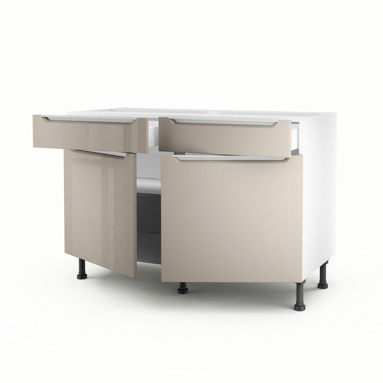 Meuble de cuisine bas taupe 2 portes 2 tiroirs milano x x c - Meuble cuisine taupe ...