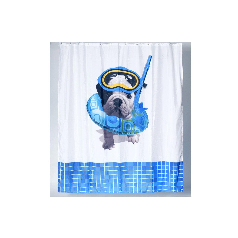 Rideau de douche en textile blanc x cm teo - Rideau de douche leroy merlin ...