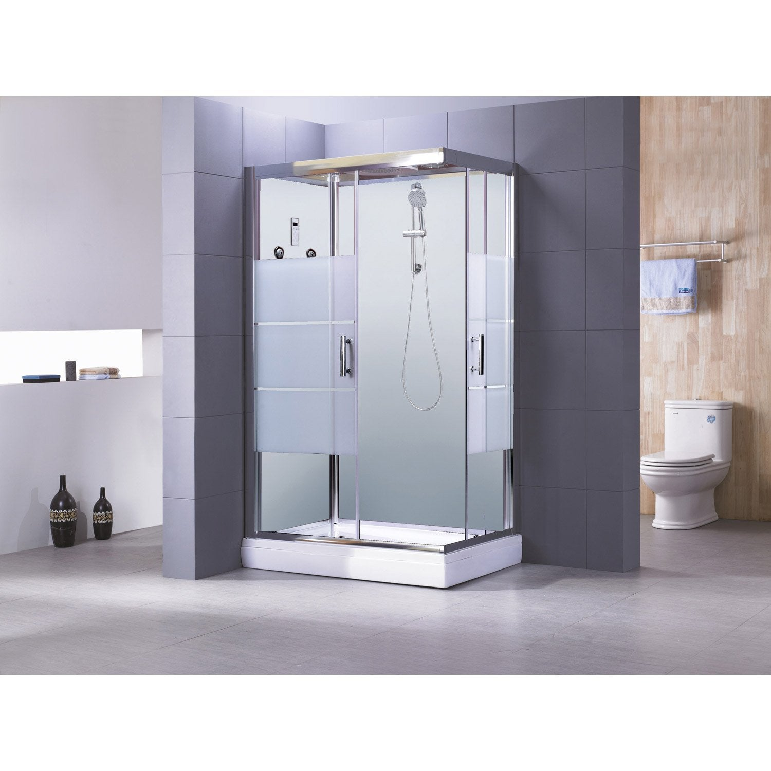cabine de douche optima2 blanche hydromassante mitigeur rectangulaire 120x80 cm leroy merlin. Black Bedroom Furniture Sets. Home Design Ideas