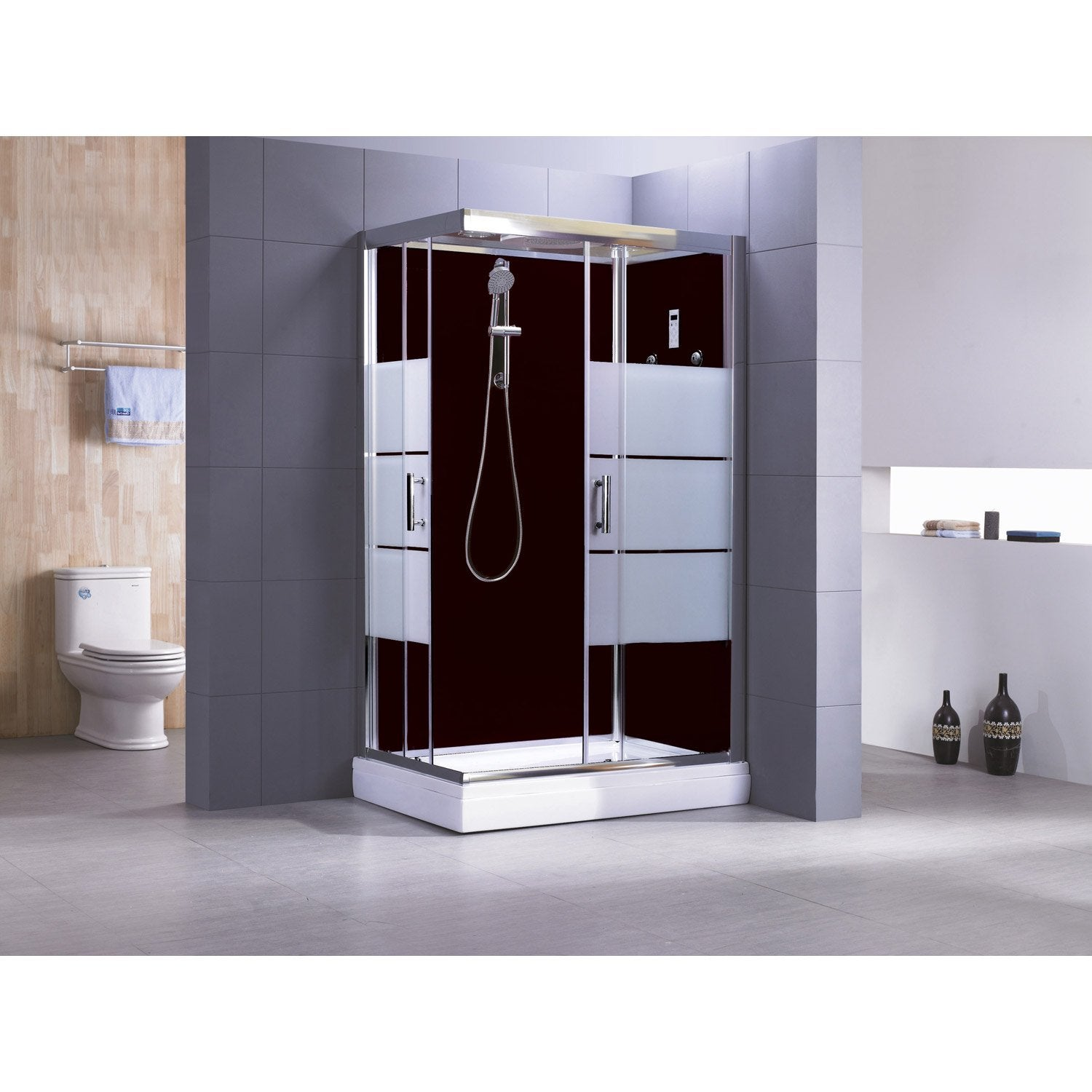 cabine de douche rectangulaire 120x80 cm optima2 noire. Black Bedroom Furniture Sets. Home Design Ideas