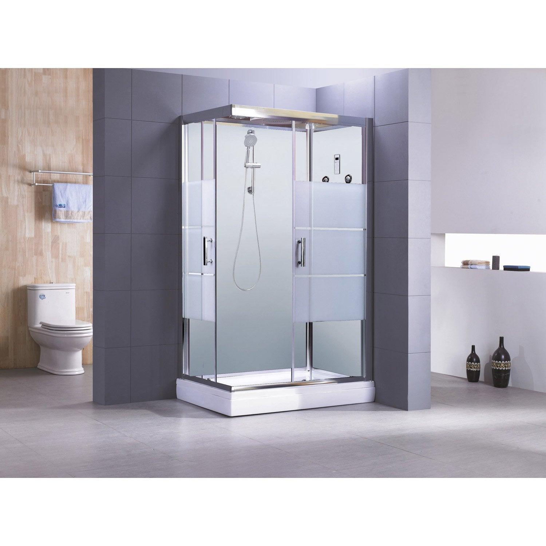 cabine de douche optima2 blanche hydromassante mitigeur rectangulaire 120x80 cm leroy merlin. Black Bedroom Furniture Sets. Home Design Ideas