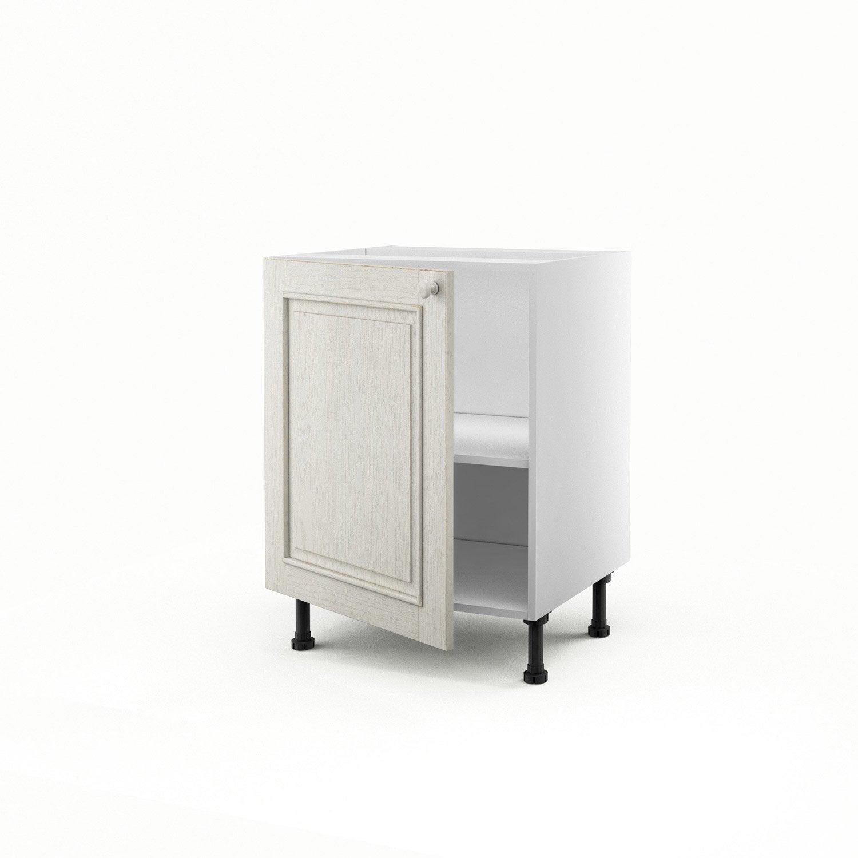 Meuble de cuisine bas blanc 1 porte cosy x x p for Porte 60 x 70