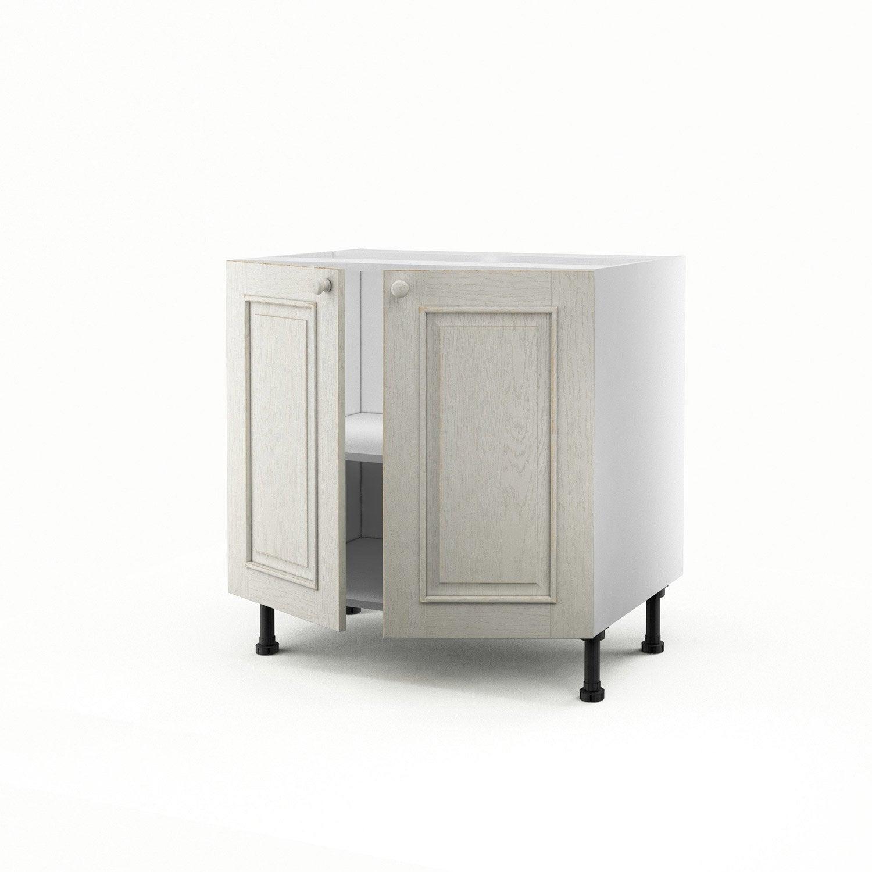 meuble de cuisine bas blanc 2 portes cosy x x p. Black Bedroom Furniture Sets. Home Design Ideas