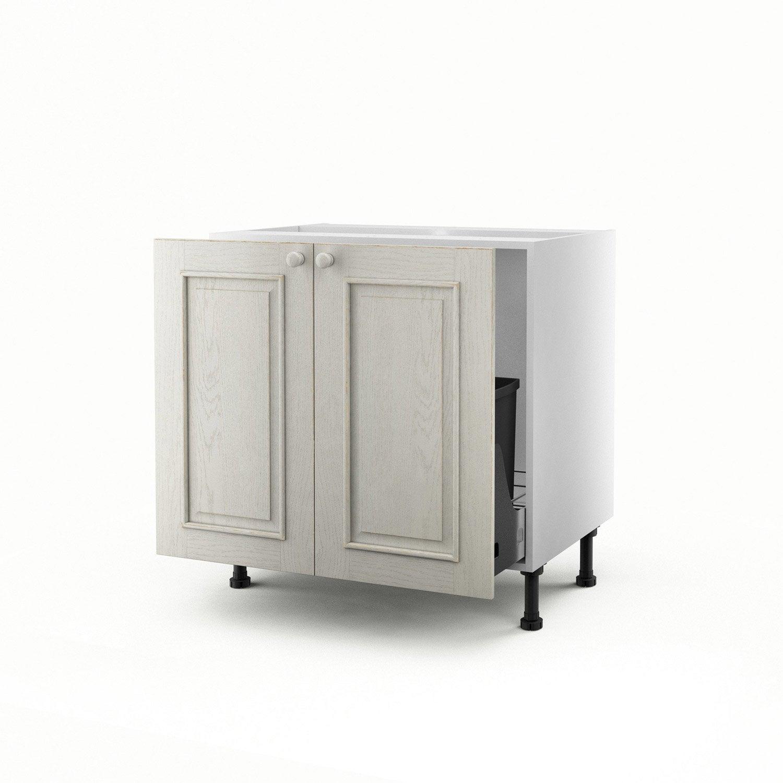 Meuble de cuisine sous vier blanc 2 portes cosy x l - Meuble sous evier 70 cm ...