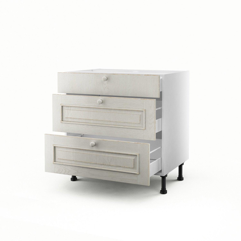 Meuble de cuisine bas blanc 3 tiroirs cosy h70xl80xp56 cm - Meuble cuisine leroy merlin blanc ...