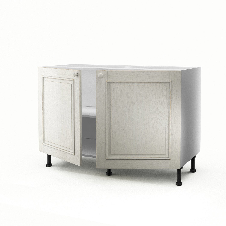 Meuble de cuisine sous vier blanc 2 portes cosy x x cm ler - Leroy merlin meuble sous evier ...