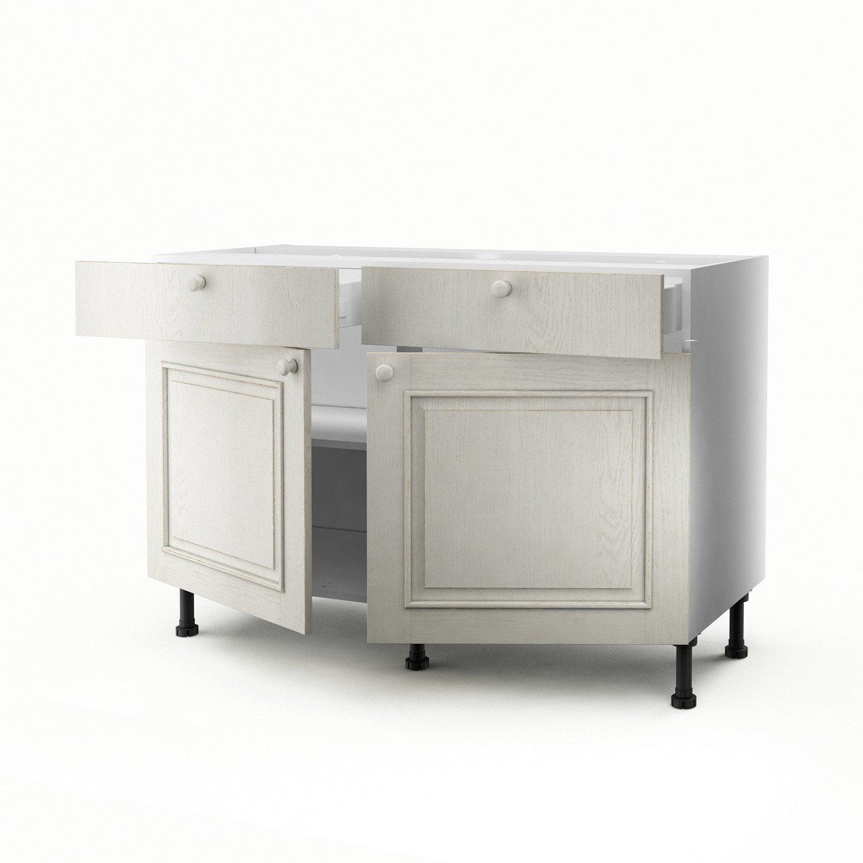 Meuble de cuisine bas blanc 2 portes 2 tiroirs cosy - Meuble 2 vasques leroy merlin ...