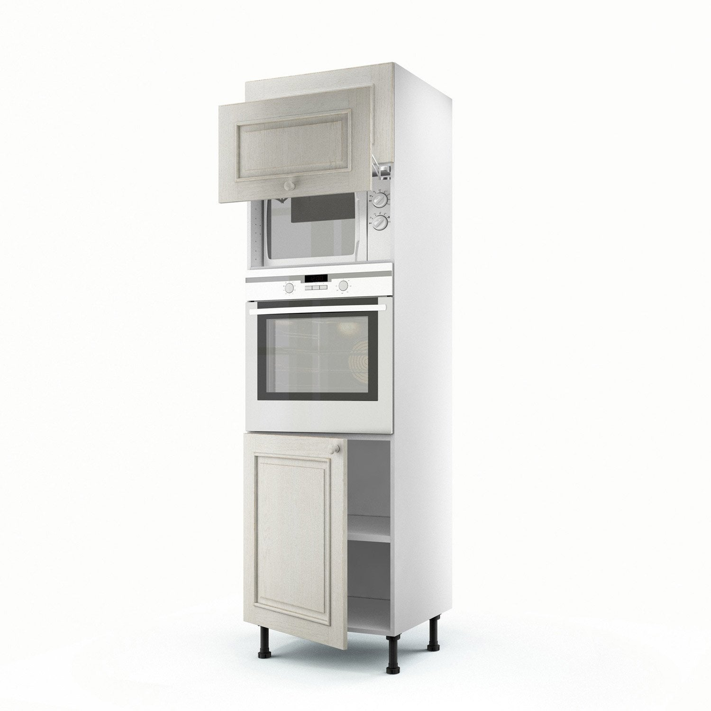 Meuble de cuisine colonne blanc 3 portes cosy x for Colonne cuisine bois