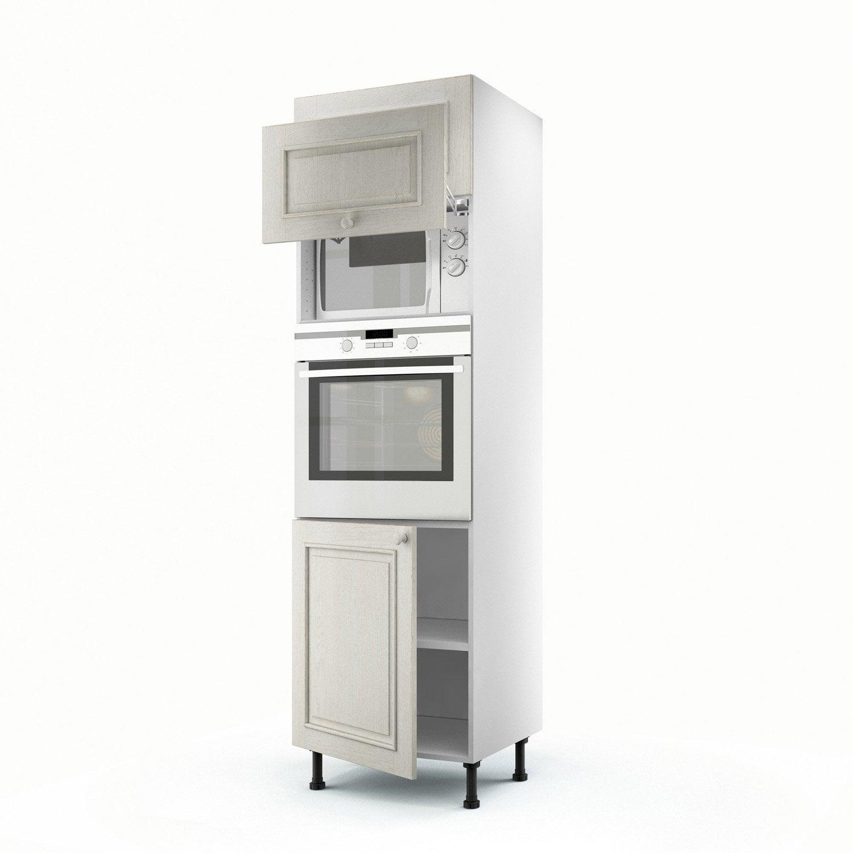 Meuble de cuisine colonne blanc 3 portes cosy x - Facade meuble de cuisine leroy merlin ...