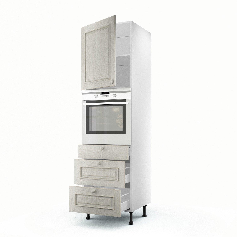 Meuble de cuisine colonne blanc 1 porte 3 tiroirs cosy h for Porte 60 x 200