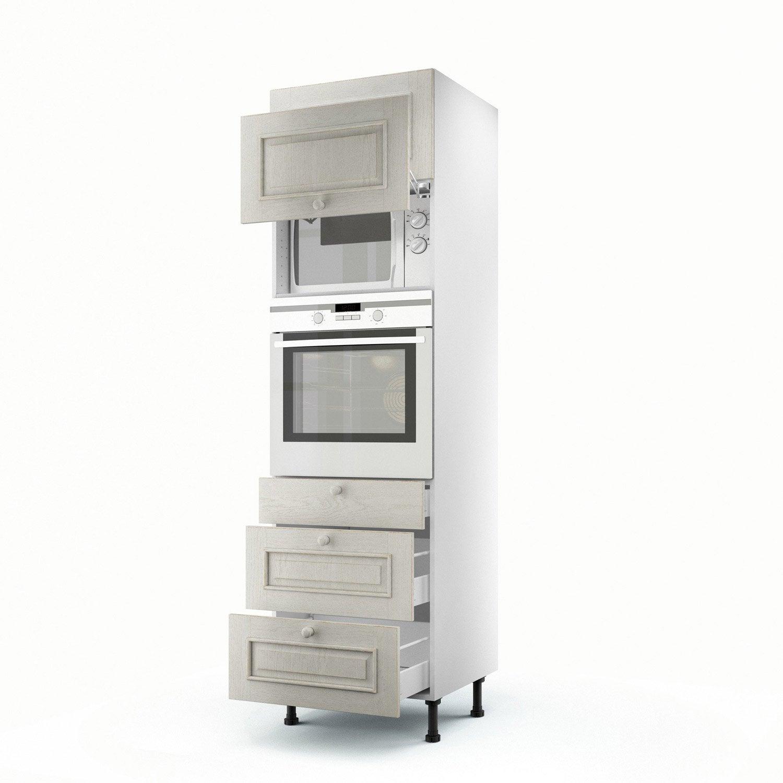 Meuble de cuisine colonne blanc 2 portes 3 tiroirs cosy for Meuble cuisine 2 portes 2 tiroirs