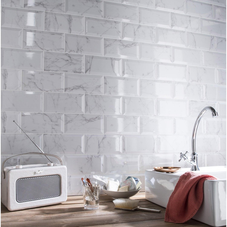 Fa ence mur blanc m tro carrare x cm leroy merlin - Faience murale cuisine leroy merlin ...