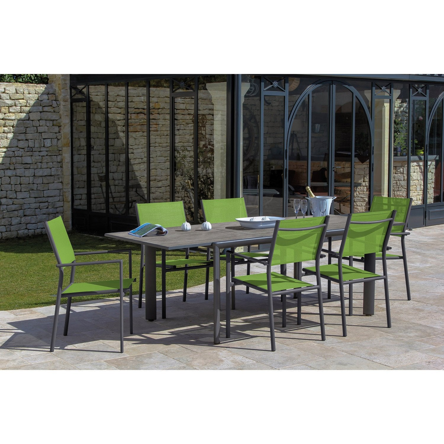 table de jardin messa rectangulaire gris 6 personnes leroy merlin. Black Bedroom Furniture Sets. Home Design Ideas