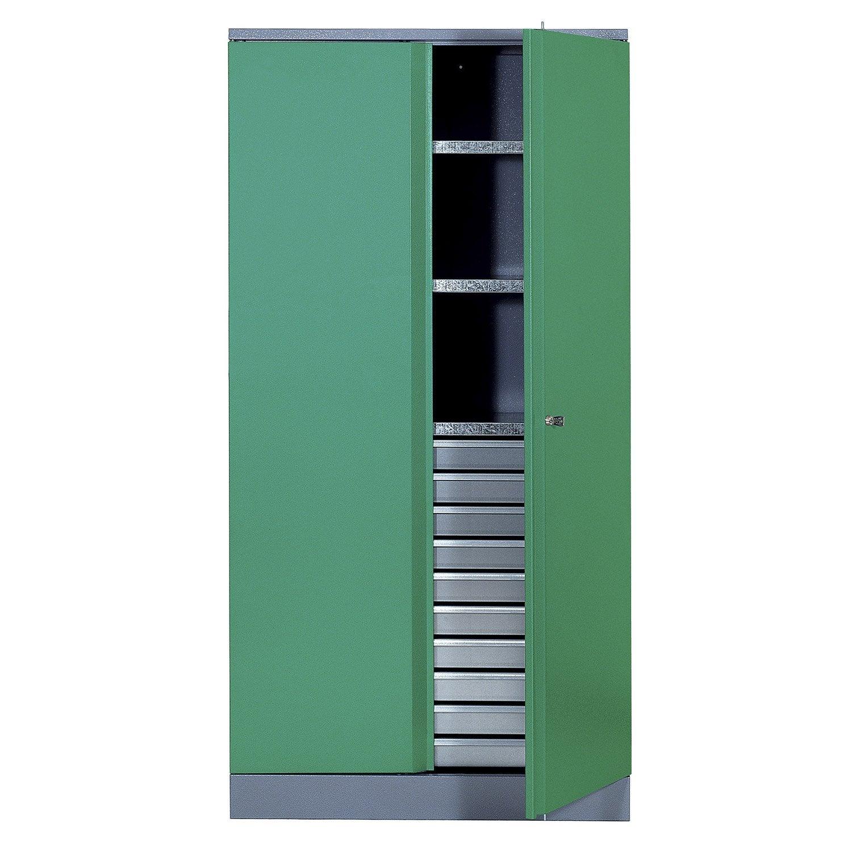 armoire de rangement en m tal vert kupper 91 cm 1 porte 10 tiroirs leroy merlin. Black Bedroom Furniture Sets. Home Design Ideas
