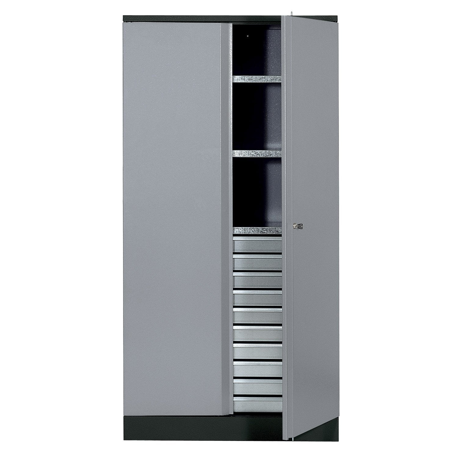 armoire de rangement en m tal gris clair kupper 91 cm 1 porte 10 tiroirs leroy merlin. Black Bedroom Furniture Sets. Home Design Ideas
