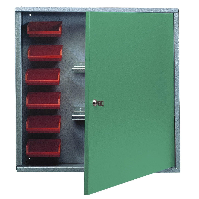 Armoire de rangement avec 6 bo tes becs en m tal vert for Porte metal 60