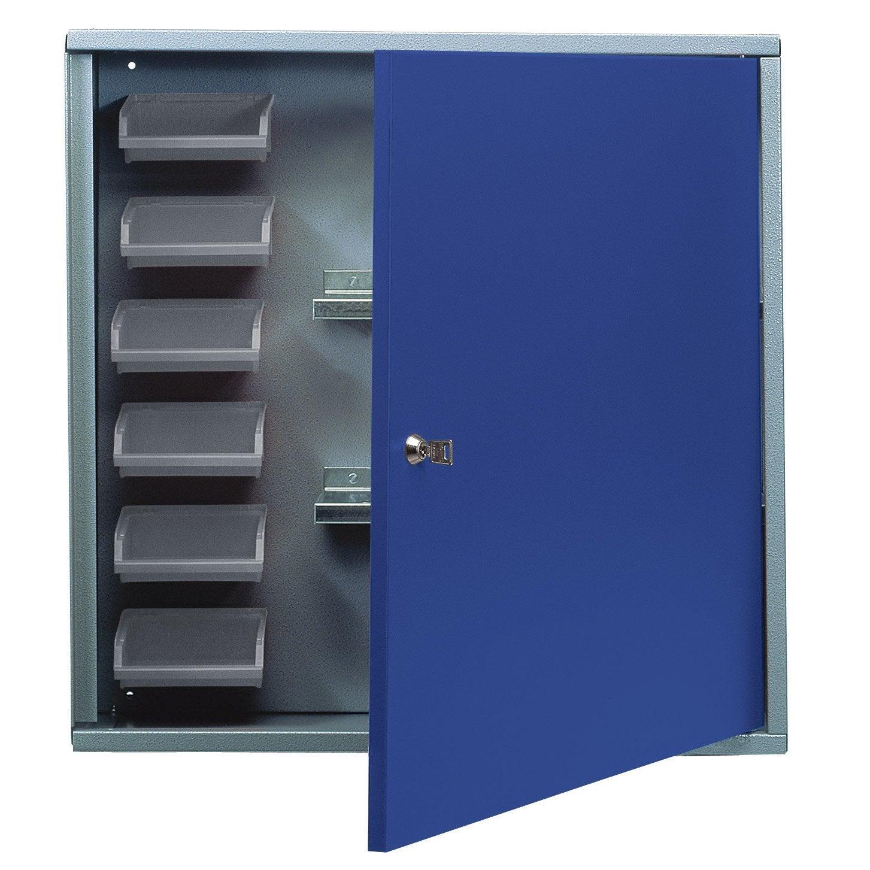 Armoire de rangement avec 6 bo tes becs en m tal bleu for Porte metal 60