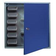 Armoire de rangement avec 6 boîtes à becs en métal bleu KUPPER 60 cm 1 porte