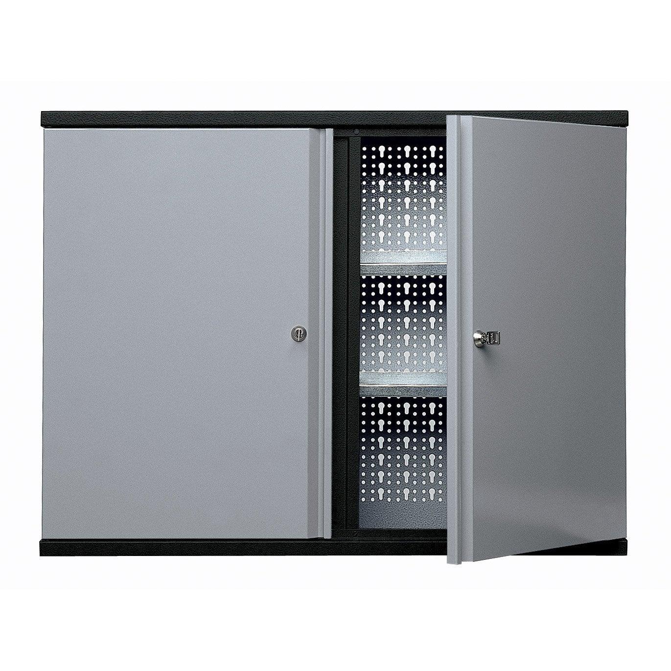 armoire de rangement 12 crochets en m tal gris clair. Black Bedroom Furniture Sets. Home Design Ideas
