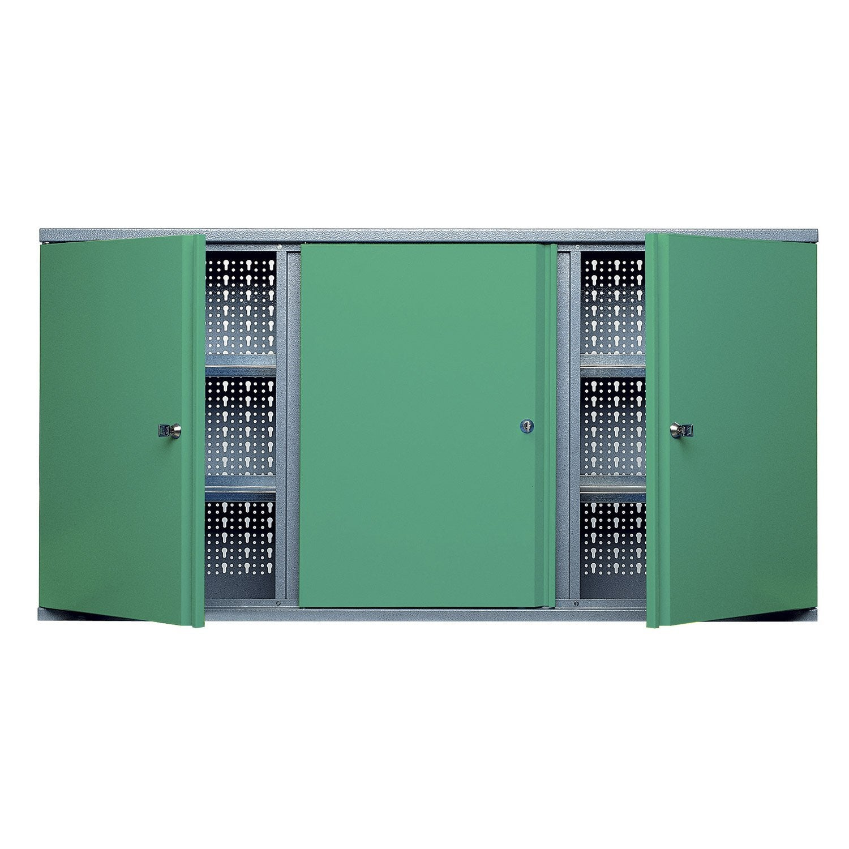 Armoire de rangement en m tal vert kupper 120 cm 1 porte for Armoire de rangement leroy merlin