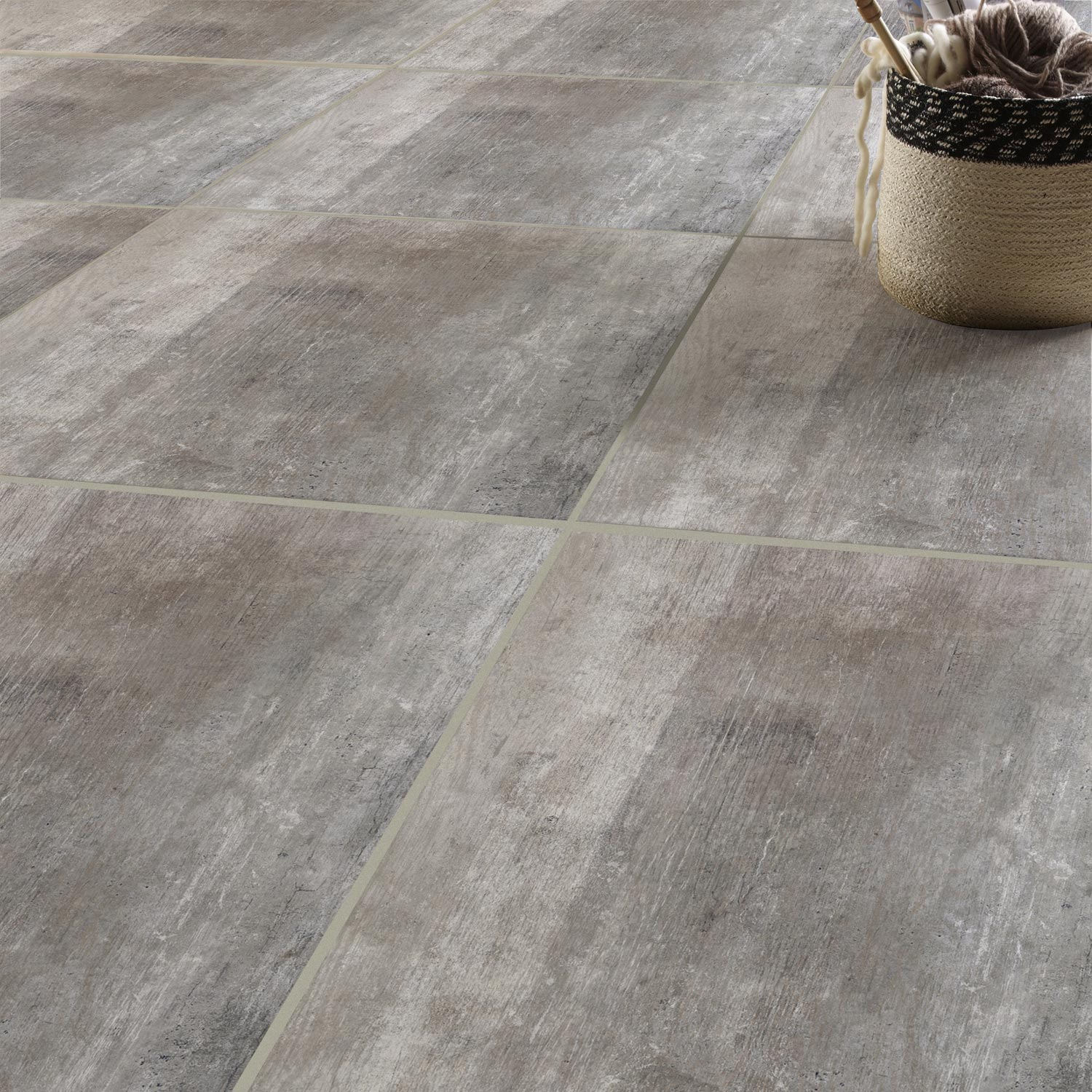 Carrelage int rieur saloon en gr s c rame maill gris for Carrelage gres