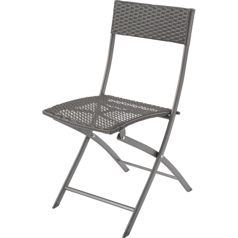 Chaise de jardin en acier ratan gris leroy merlin for Chaise en acier poitiers