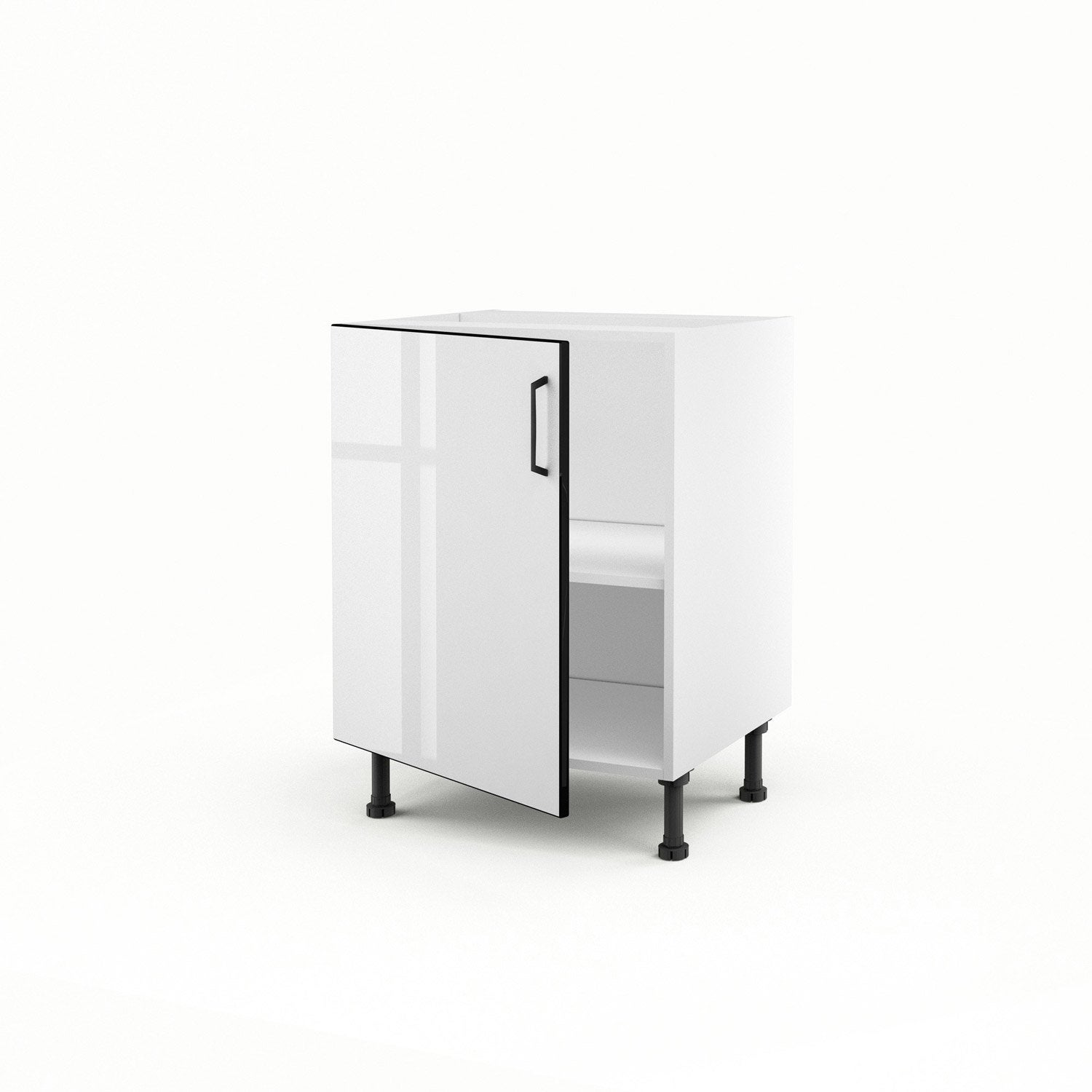 Meuble de cuisine bas blanc 1 porte pop h70xl60xp56 cm for Bas de porte leroy merlin