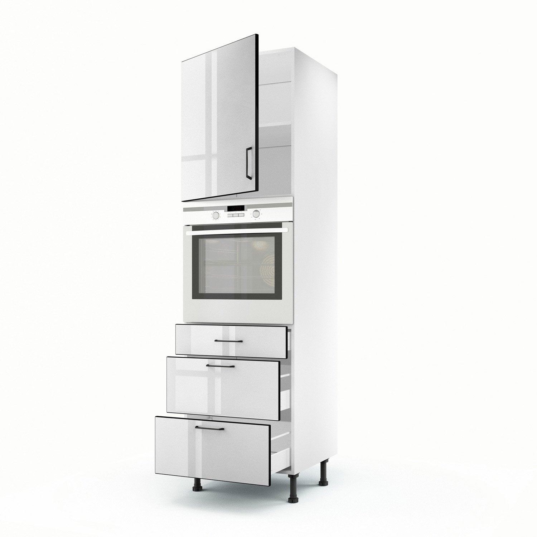 Meuble de cuisine colonne blanc 1 porte 3 tiroirs pop h - Meuble colonne leroy merlin ...