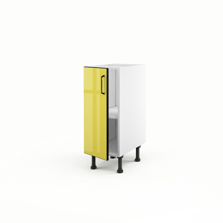 Meuble de cuisine bas jaune 1 porte pop h70xl30xp56 cm for Meuble cuisine jaune