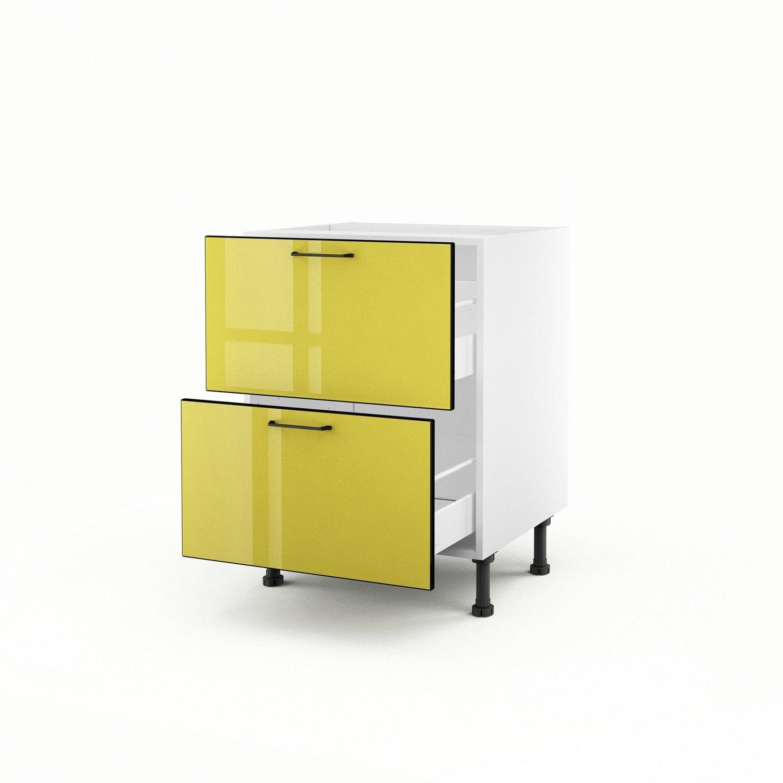 Meuble de cuisine bas jaune 2 tiroirs pop x x p for Meuble cuisine jaune