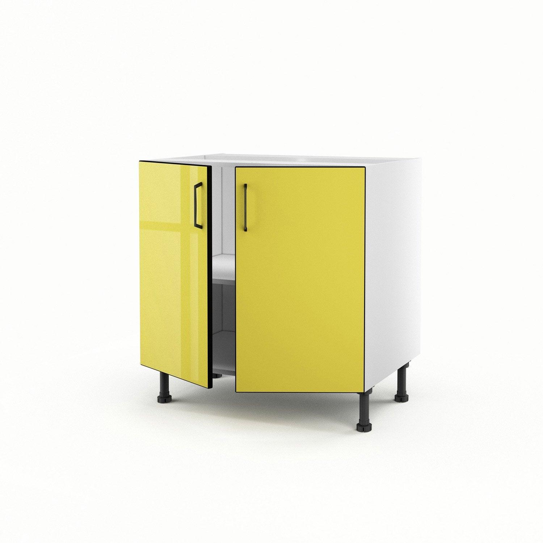 meuble de cuisine bas jaune 2 portes pop h70 x l80 x p