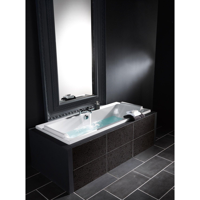Baignoire rectangulaire cm blanc jacob - Peinture pour baignoire en fonte leroy merlin ...