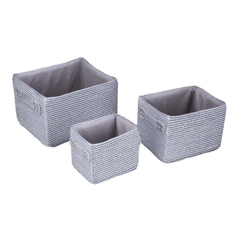 lot de 3 paniers en plastique argent paille leroy merlin. Black Bedroom Furniture Sets. Home Design Ideas