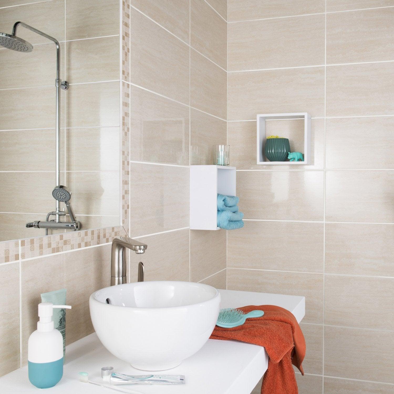 Lot de 2 listels verone beige l 4 5 x cm leroy merlin for Peinture pour salle de bain carrelage
