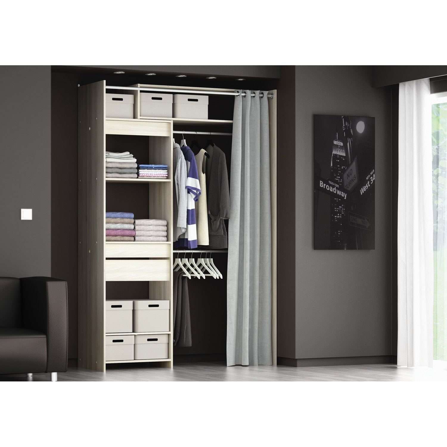 dressing extensible avec rideau ch ne blanc artemis. Black Bedroom Furniture Sets. Home Design Ideas
