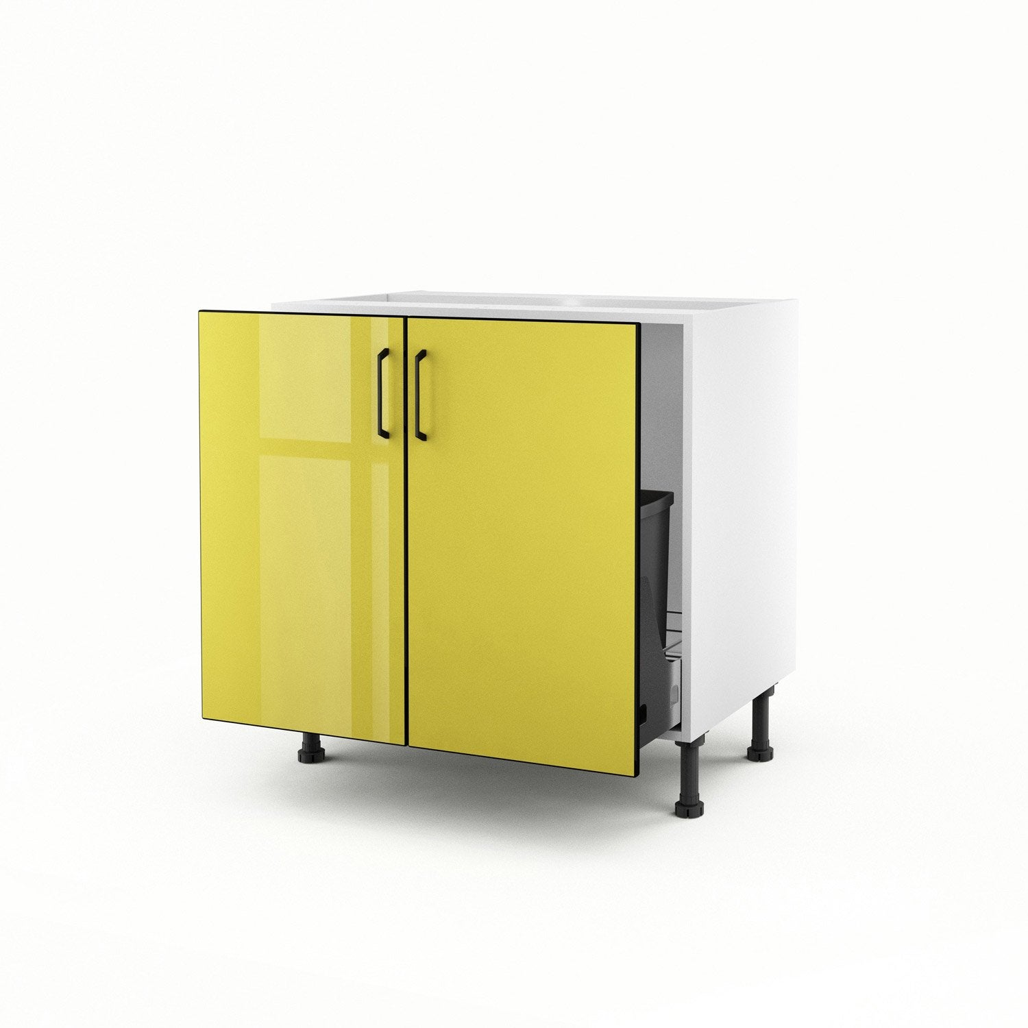 meuble de cuisine sous vier jaune 2 portes pop h70xl80xp56 cm leroy merlin. Black Bedroom Furniture Sets. Home Design Ideas