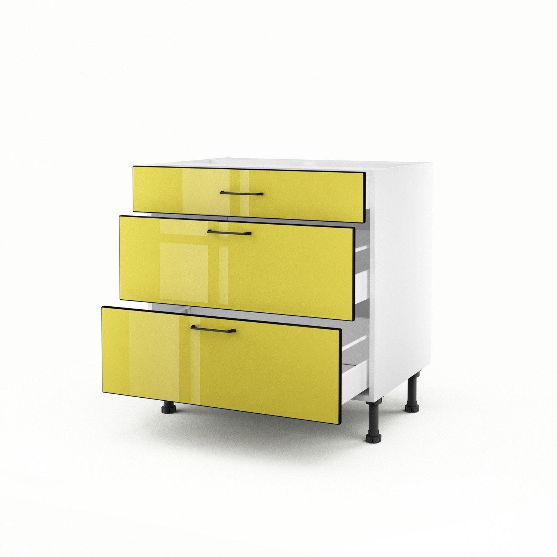 Meuble de cuisine bas jaune 3 tiroirs pop h70xl80xp56 cm for Meuble cuisine jaune